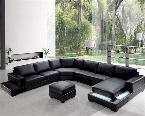 Modern Soft Black Leather Sectional Sofa Set 44l0693 Modern Black Sectional Sofa
