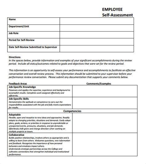 employee self evaluation form template self assessment 6 exle format