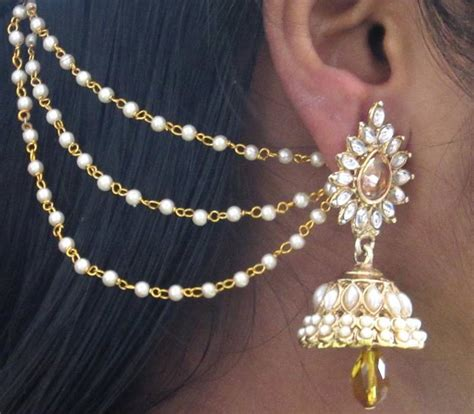 Buy Home Decor Online by Buy Yellow Drop Jhumka With Pearl Ear Chain Earring Online