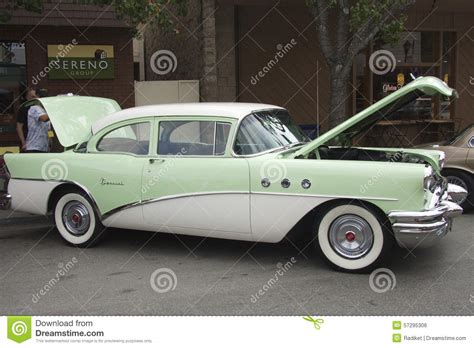 buick ad girl unlock doors green buick special two door sedan 1955 editorial photo