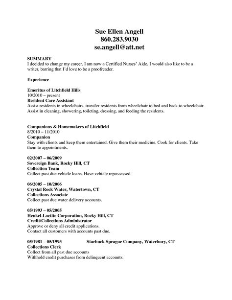 Resume Summary Exle Cna How To Write A Winning Cna Resume Objectives Skills