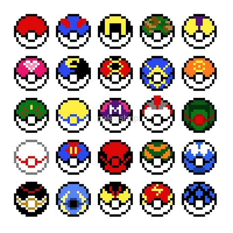 Home Decor Balls by Quot Pokeballs Pixel Art Quot By Galegshop Redbubble