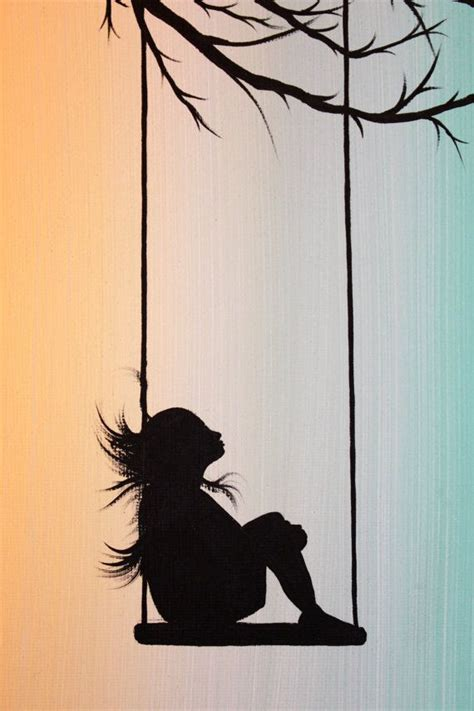 swing silhouette original abstract acrylic painting canvas peppermint swing