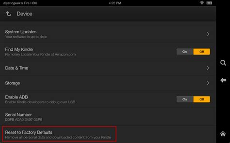 reset kindle online how to reset the kindle fire hdx to factory settings