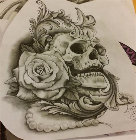 skull rose tattoo designs skull with design