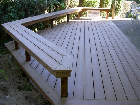 trex deck benches   concrete patio decks
