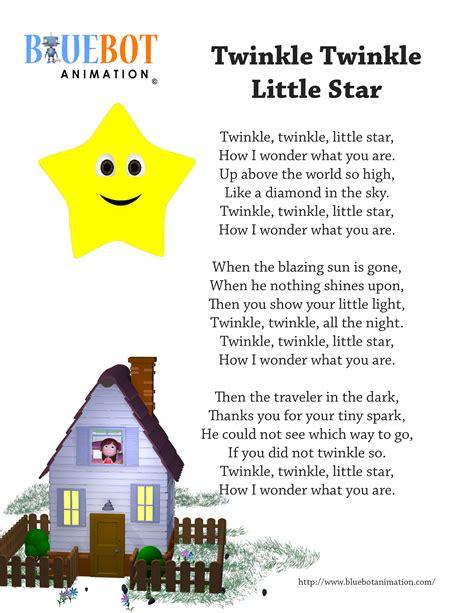 printable lyrics for nursery rhymes twinkle twinkle little star nursery rhyme lyrics free