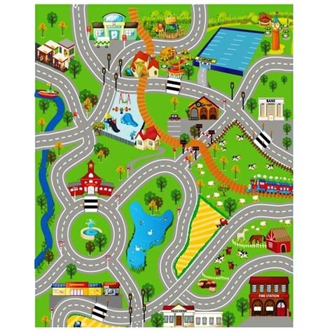 printable play road map giant kids city playmat fun town cars play village farm