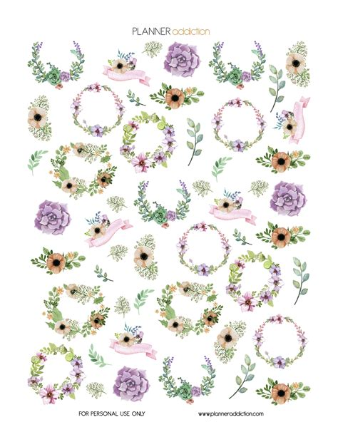 free printable watercolour flowers watercolor floral planner addiction