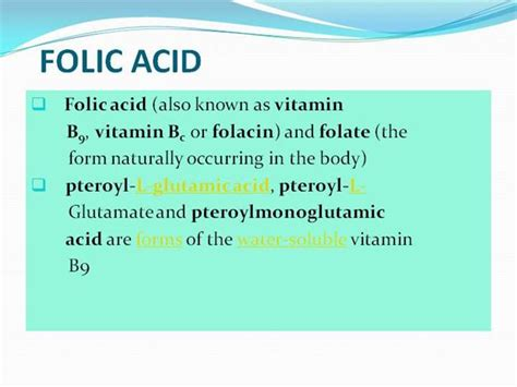 Folic Acid Authorstream Ppt Of Acid