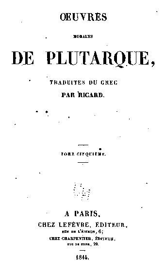 Plutarque : oeuvres morales : DES NOMS DES FLEUVES ET DES