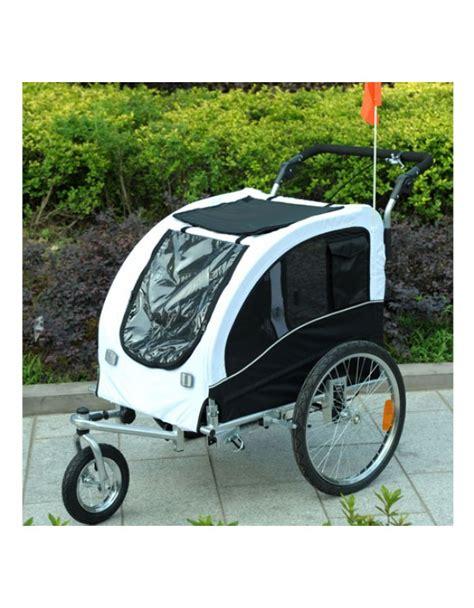 carrello porta cani per bici pawhut carrellino rimorchio per cani da bicicletta bianco