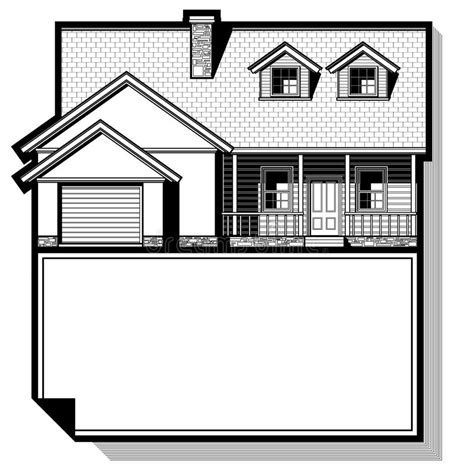 single family house drawing stock  image
