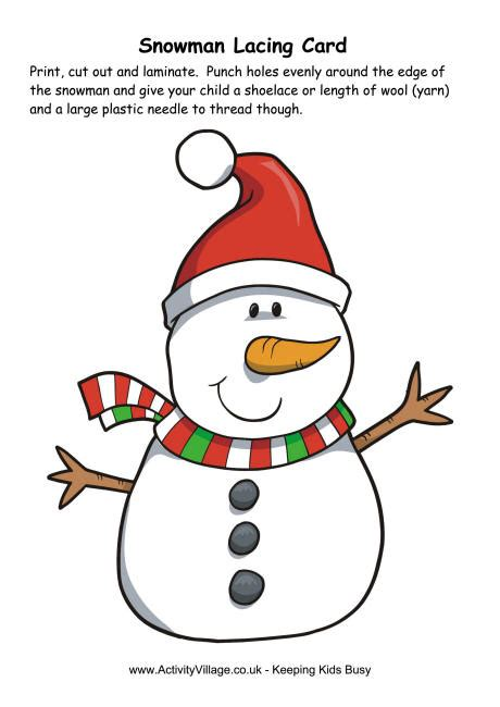 free printable christmas lacing cards christmas snowman lacing card