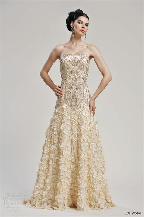 Gold Wedding Dresses by Sue Wong Bridal Collection Wedding Inspirasi