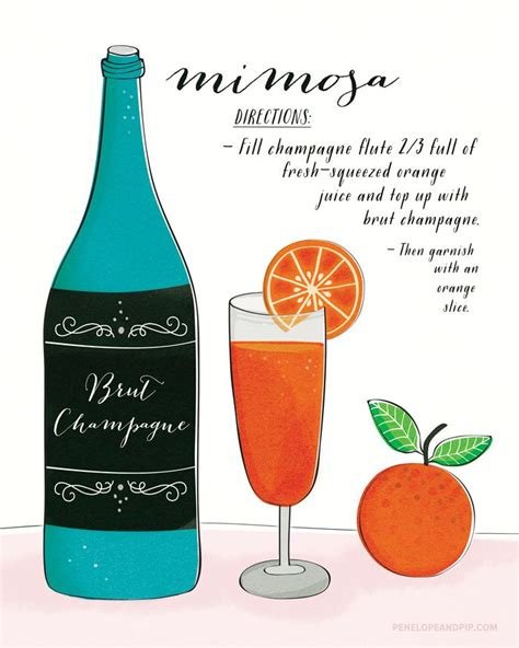 mimosa clipart mimosa cocktail recipe illustration illustrations