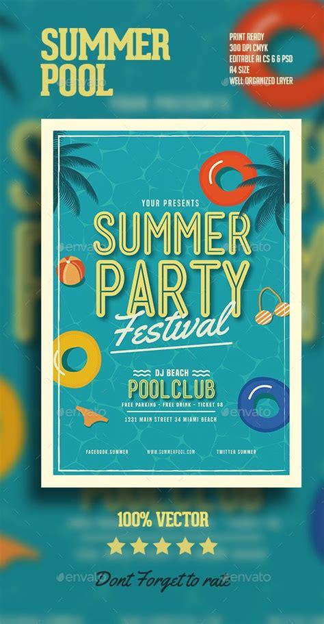 templates flyers illustrator summer pool party flyer ai illustrator