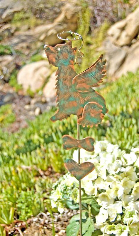 metal garden animals schnauzer terrier pet memorial stake copper yard