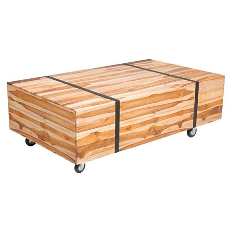 Outdoor Patio Coffee Table Zuo River Wood Outdoor Patio Coffee Table In Teak 703799 The Home Depot