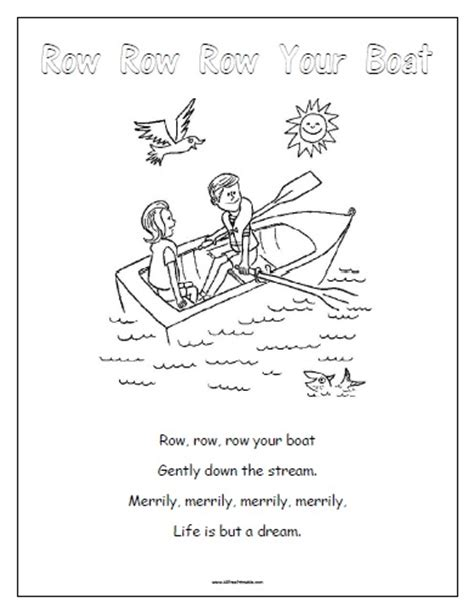 row your boat worksheet row your boat preschool worksheets row best free