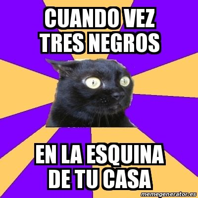 Anxiety Cat Meme Generator - meme anxiety cat cuando vez tres negros en la esquina de