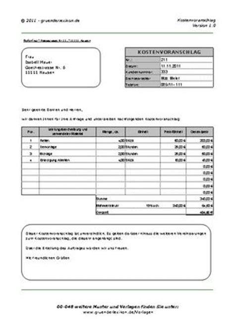 Angebot Baufirma Muster wo erhalte ich ein muster f 252 r einen kostenvoranschlag