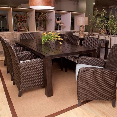 outdoor dining patio furniture anacara carlysle all weather wicker dining set seats 8