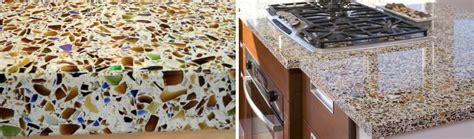 recycled glass counter top surface