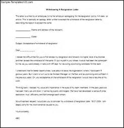 Resignation Withdrawal Letter by Withdrawing A Resignation Letter Sle Word Doc Sle Templates