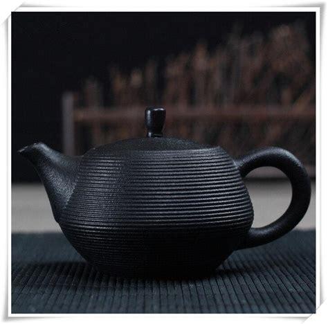 Handcrafted Tea - handcrafted tea set with tray black glaze teaset