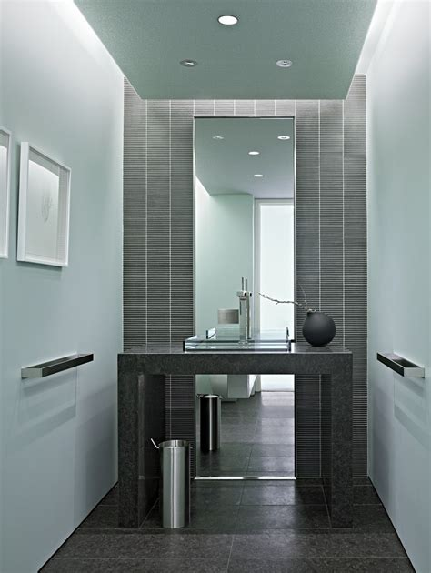 Mirror Backsplash grey tile backsplash powder room modern with accent wall