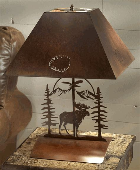 rustic moose bedside table lamp