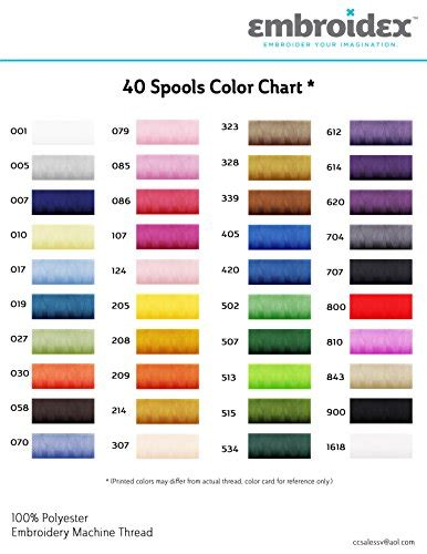embroidex color chart 40 spools polyester embroidery machine thread bright and