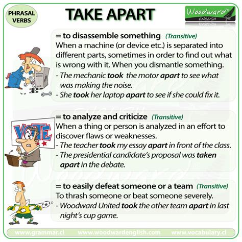 60 useful phrasal verbs with take with meaning and take apart phrasal verb meanings and exles