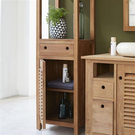 teak holz gartenmöbel uk coline teak cupboard column 190 bathroom storage column