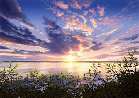 wallpaper anime scenery anime scenery sunset leaves nature wallpaper anime
