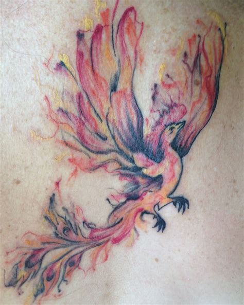 my watercolor phoenix tattoo done by april ballar yelp