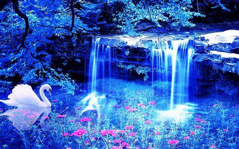Small by Swan Waterfall Flowers 3d Wallpaper 1920x1200 98142