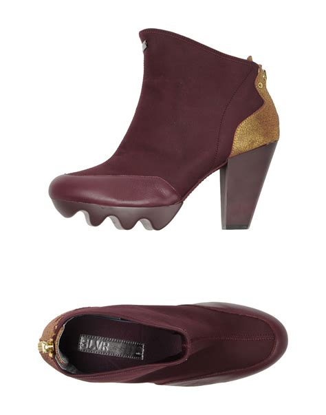 adidas slvr paneled suede ankle boots in purple mauve lyst