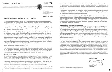 College Acceptance Letter Ucla Welcome Back Letter From Uc President G Yudof Uc Movement For Efficient Privatization