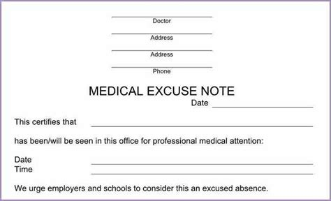 printable fake doctors notes free samplenotary cam