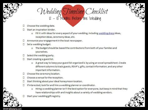 Printable Wedding Checklist With Timeline by Wedding Timeline Checklist 12 10 Months Before The Wedding