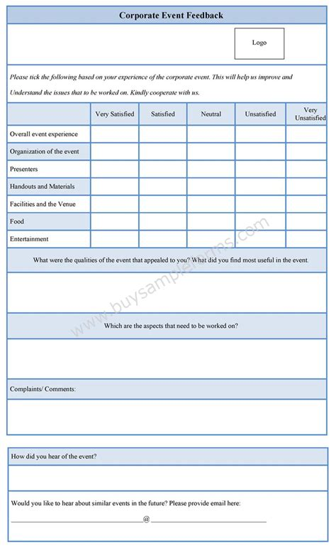 Corporate Event Feedback Form Feedback Form Template