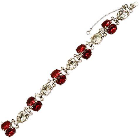 "Stunning Eisenberg ""Original"" Red Chaton & Rhinestone Bracelet from easterbelles emporium on"