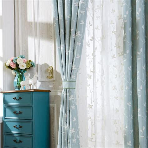 Light Blue Sheer Curtains Soul Cotton Embroidered Curtains Light Blue White Leaves Window Curtains Sheer Curtains