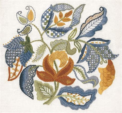 embroidery design kits crewel embroidery kit jacobean leaves