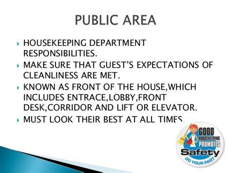 areas of housekeeping department responsbilities