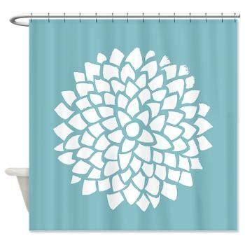 dahlia shower curtain teal blue dahlia fabric shower curtain minimalist blue