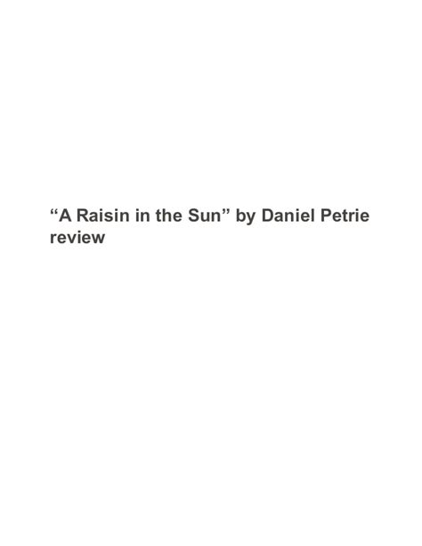 A Raisin In The Sun Essay Topics by Midterm Review A Raisin In The Sun By Daniel Petrie Sle