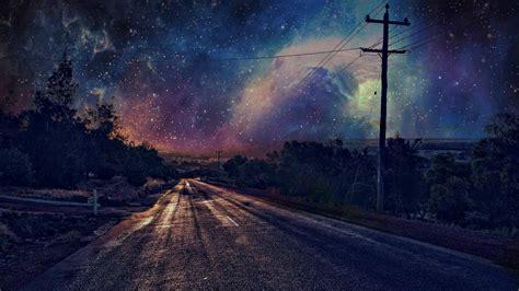 wallpaper  px malam jalan bintang tiang